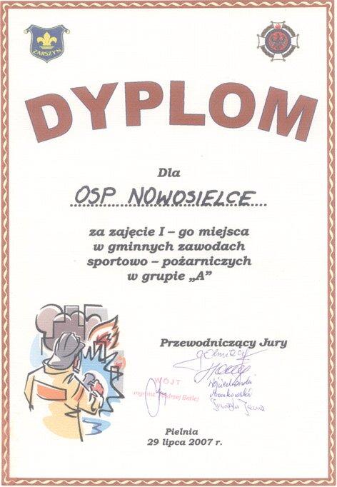 Dyplom za zajęcie I-go miejsca w gminnych zawodach sportowo ...